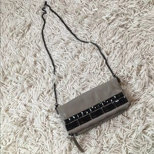 Faux leather clutch with chain
